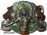Indian Chief and Buffalo Belt Buckle + display stand. Code FM4
